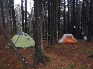 Camping on Unaka Mountain in the rain.