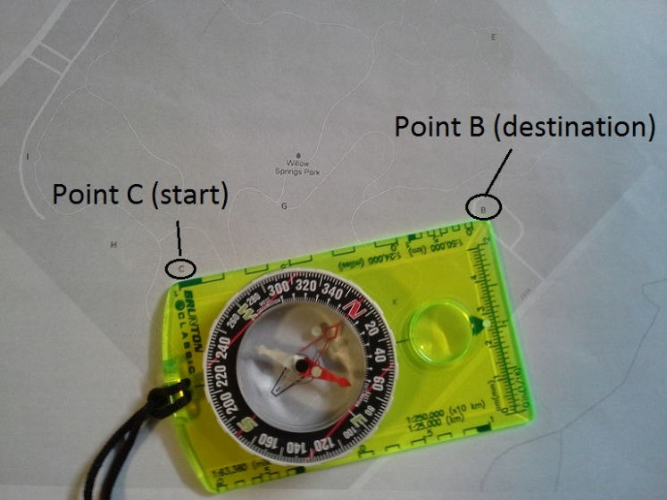 Line the edge of your compass between your start and destination