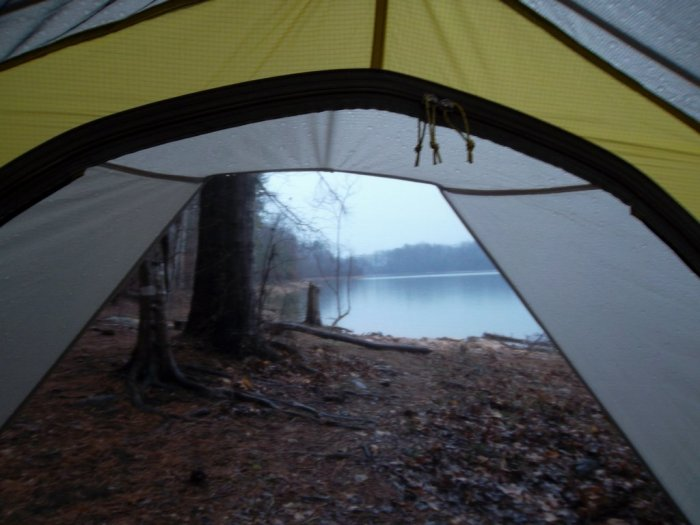 Watching the rain from the safety of the Sierra Designs Lightning UL2.