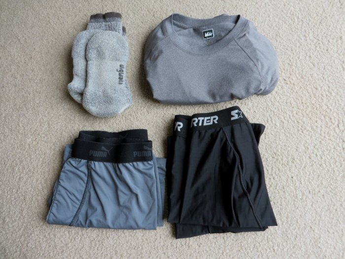 Hiking Base layer. Underwear, long or short, thick wicking socks, and a synthetic base upper layer.